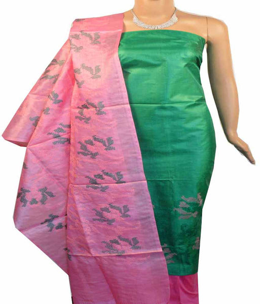 Churidar Material:- Top in   Tussar silk  , Duppata in Tussar  Silk and  Bottom in   Cotton Silk (Un-stitched) -180100383