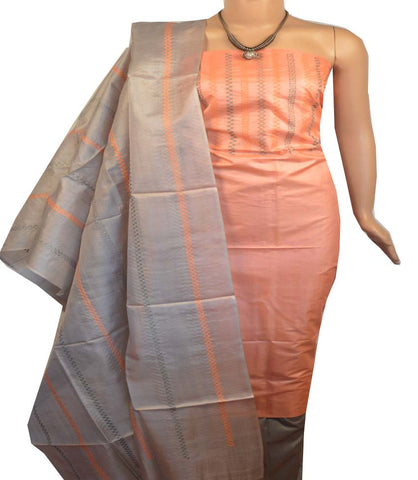 Churidar Material:- Top in   Tussar silk  , Duppata in Tussar  Silk and  Bottom in   Cotton Silk (Un-stitched) -190100148