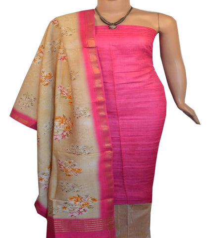 Churidar Material:- Top in   Jute silk  , Duppata in Tussar  Viscose and  Bottom in   Cotton Silk (Un-stitched) -190100195