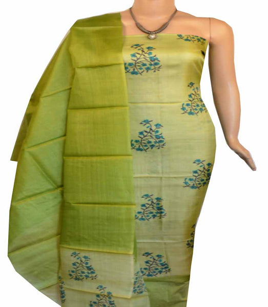 Churidar Material:- Top in Dessy Tussar Silk  , Duppata  Dessy Tussar Silk  and  Bottom in   Cotton Silk  (Un-stitched) - 180100455