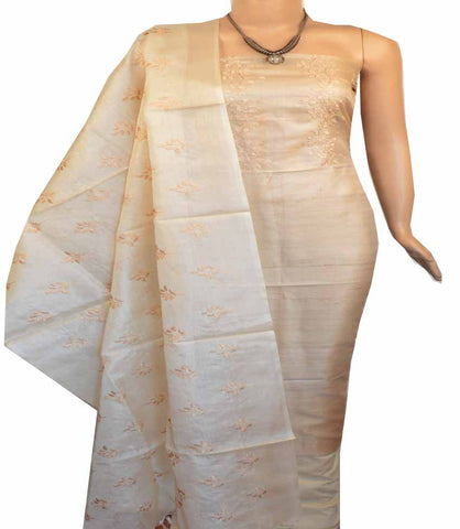 Churidar Material:- Top in  Dessy Tussar silk  , Duppata in Tussar  Silk and  Bottom in   Cotton Silk (Un-stitched) -180100495