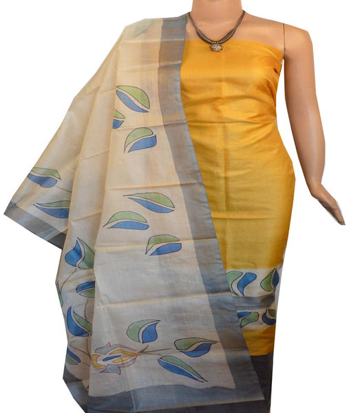 Churidar Material:- Top in   Tussar silk  , Duppata in Tussar  Silk and  Bottom in   Cotton Silk (Un-stitched) -190100184