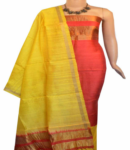 Churidar Material:-Top in Raw Silk  Duppata in Raw Silk and  Bottom in   Cotton Silk (Un-stitched) -180100416