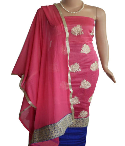 Churidar Material - Top in Chandery Silk,Dupatta in Crape and Bottom in Cotton Silk (Unstitiched) - 140200081 - HAMALSTAR - 1