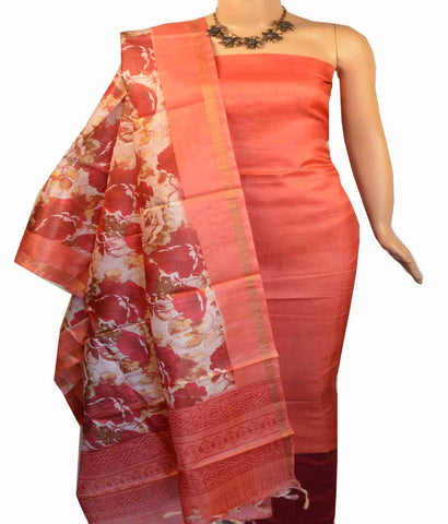 Churidar Material:- Top in Printed  Tussar Silk , Duppata in   Tussar  Silk  and  Bottom in  Cotton Silk (Un-stitched)-180100048