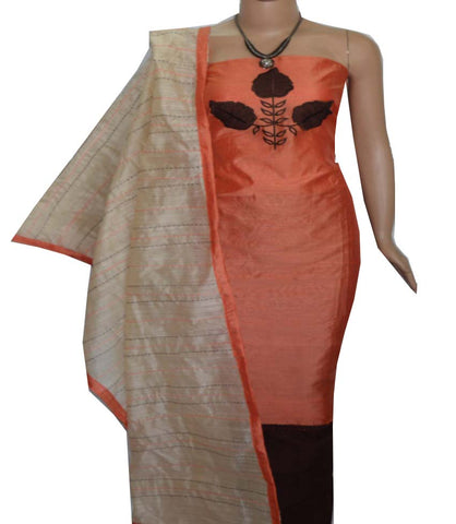 Churidar Material:- Top in   Chanderi Silk   , Duppata in Chanderi and  Bottom in   Cotton  (Un-stitched) -190100086