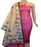 Churidar Material:- Top in   Tussar silk  , Duppata in Tussar  Silk and  Bottom in   Cotton Silk (Un-stitched) -190100045