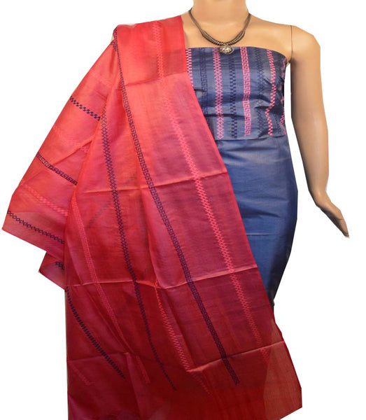 Churidar Material:- Top in   Tussar silk  , Duppata in Tussar  Silk and  Bottom in   Cotton Silk (Un-stitched) -190100149