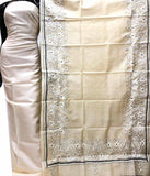 Churidar Material:- Top in Dessy Tussar Silk Duppata in Kanta  Tussar Silk and  Bottom in   Cotton Silk (Un-stitched) -180100344