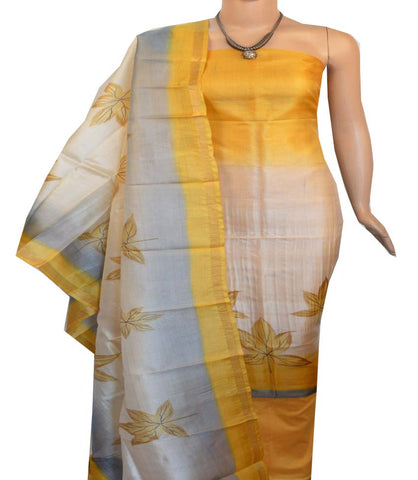 Churidar Material:- Top in   Tussar silk  , Duppata in Tussar  Silk and  Bottom in   Cotton Silk (Un-stitched) -190100185