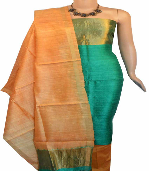 Churidar Material:-Top in Raw Silk  Duppata in Raw Silk and  Bottom in   Cotton Silk (Un-stitched) -180100415