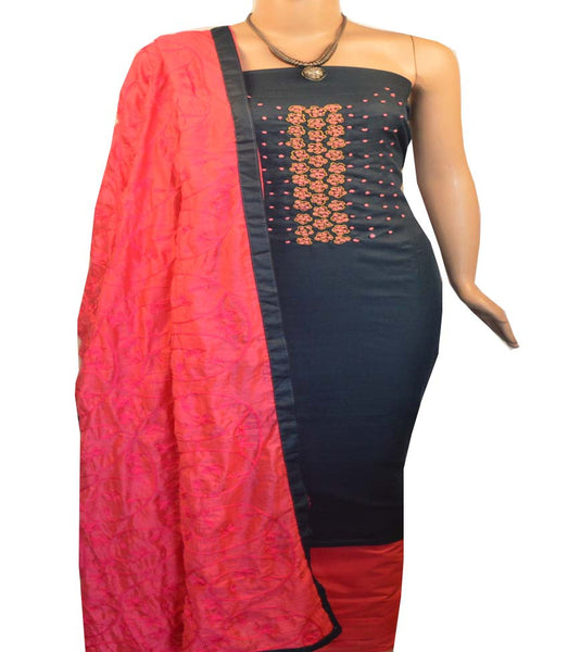 Churidar Material:- Top in   Cotton , Duppata in Cotton Silk and  Bottom in   Cotton  (Un-stitched) -190100134