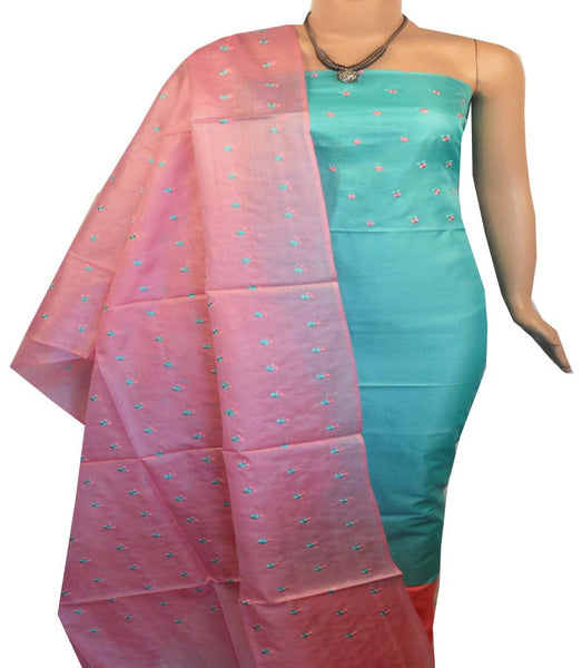 Churidar Material:- Top in   Tussar silk  , Duppata in Tussar  Silk and  Bottom in   Cotton Silk (Un-stitched) -190100150