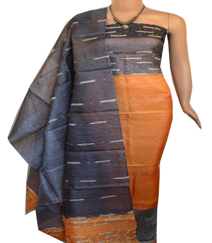 Churidar Material:- Top in   Tussar silk  , Duppata in Tussar  Silk and  Bottom in   Cotton Silk (Un-stitched) -190100187