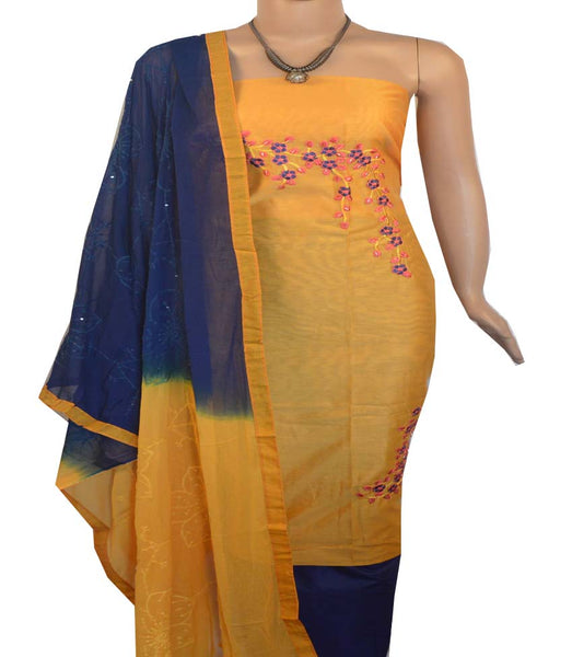 Churidar Material:- Top in  Chanderi Silk  , Duppata in Crape and  Bottom in   Cotton   (Un-stitched) -190100096