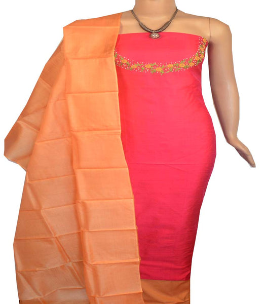 Churidar Material:-Top in Raw Silk  Duppata in Tussar Silk and  Bottom in   Cotton Silk (Un-stitched) -180100402