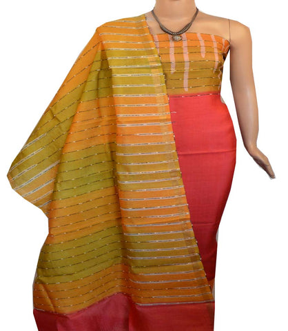 Churidar Material:- Top in   Tussar silk  , Duppata in Tussar  Silk and  Bottom in   Cotton Silk (Un-stitched) -190100188