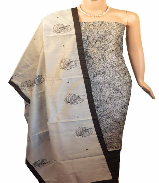 Churidar Material:- Top in    Chanderi, Duppata in Chanderi and  Bottom in   Cotton (Un-stitched) -180100477