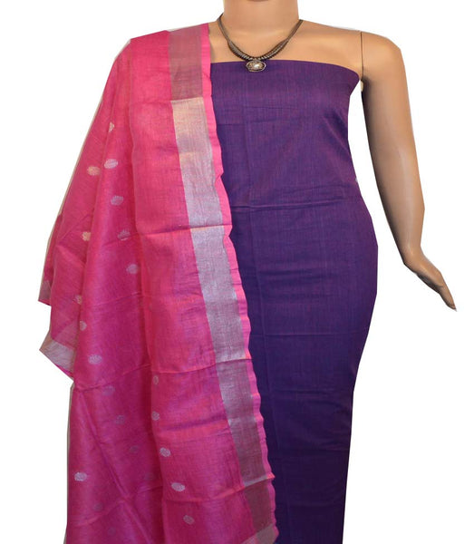 Churidar Material:- Top in  Handloom Cotton  , Duppata in Linen Without  Bottom   (Un-stitched) -190100103