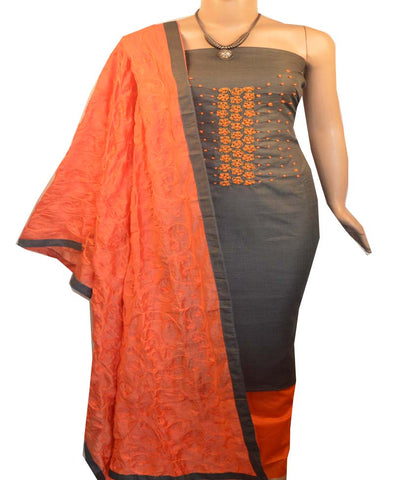 Churidar Material:- Top in   Cotton , Duppata in Cotton Silk and  Bottom in   Cotton  (Un-stitched) -190100133