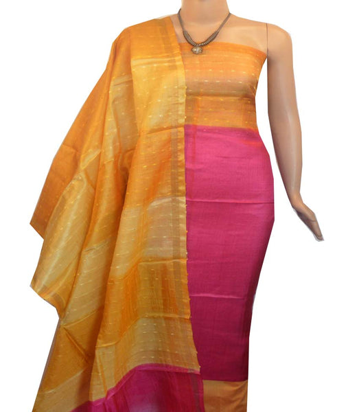 Churidar Material:- Top in   Tussar silk  , Duppata in Tussar  Silk and  Bottom in   Cotton Silk (Un-stitched) -190100043