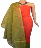 Churidar Material:- Top in  Cotton  Jute    , Duppata Semi Organza With Checks Weaving and  Bottom in   Cotton Silk  (Un-stitched) - 180100429