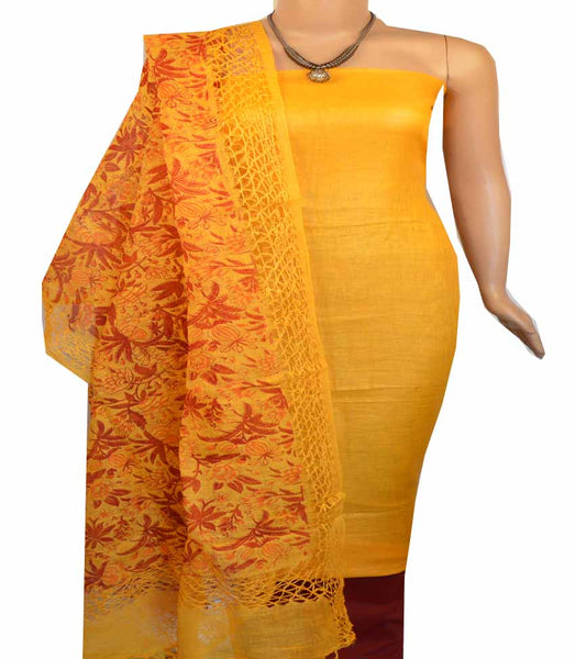 Churidar Material:- Top in Linen  , Duppata in Linen and  Bottom  in   Cotton Silk (Un-stitched-180100397