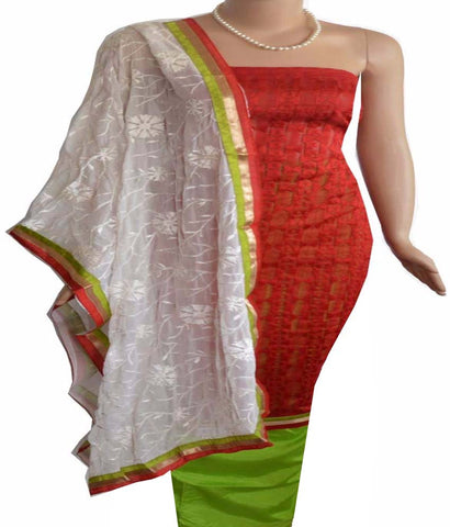 Churidar Material:- Top in soft-net cotta , Duppata in crape and Bottom in  Silk (Unstitiched) - 140200097 - HAMALSTAR - 1