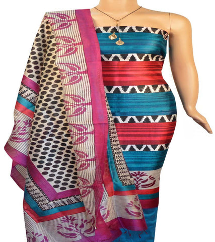 Churidar Material:- Top in Printed Raw Silk , Dupatta in  Printed Raw Silk   and  Bottom in   Raw Cotton (Un-stitched)