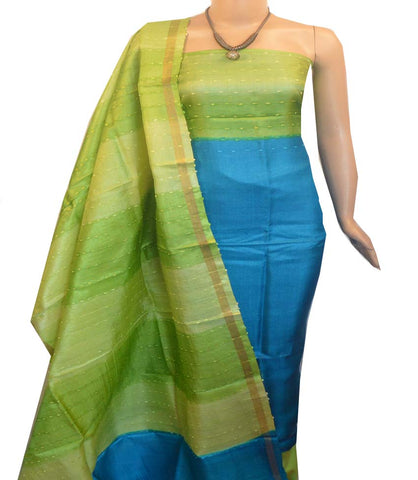 Churidar Material:- Top in   Tussar silk  , Duppata in Tussar  Silk and  Bottom in   Cotton Silk (Un-stitched) -190100046