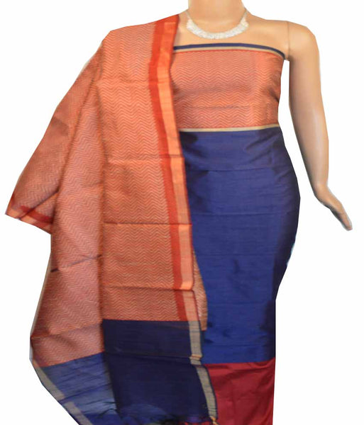 Churidar Material:- Top Mix Raw Silk Duppata in Mix Raw Silk and  Bottom in   Cotton Silk (Un-stitched) -180100329