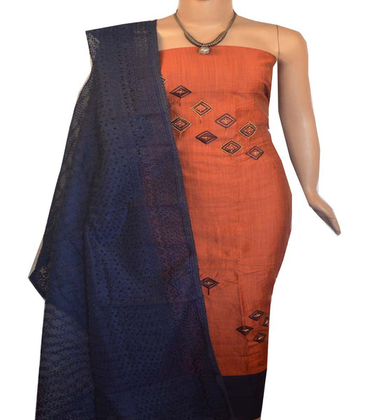 Churidar Material:- Top in  Chanderi Silk  , Duppata in Net and  Bottom in   Cotton   (Un-stitched) -190100099