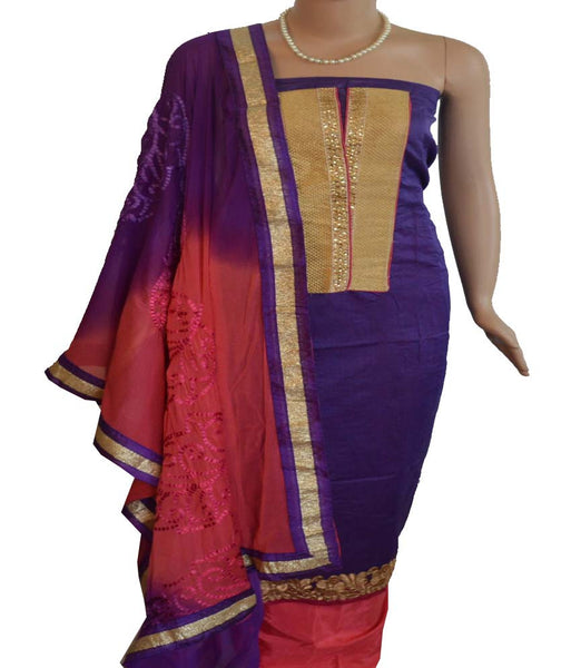 Churidar Material -  Top in Chandery Silk,Dupatta in Crape and Bottom in Cotton Silk (Unstitiched) - 140200093 - HAMALSTAR - 1