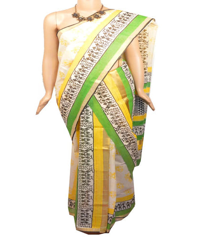 Kerala Cotton Saree 2pc /Set Mundu/Mundum neriyathum