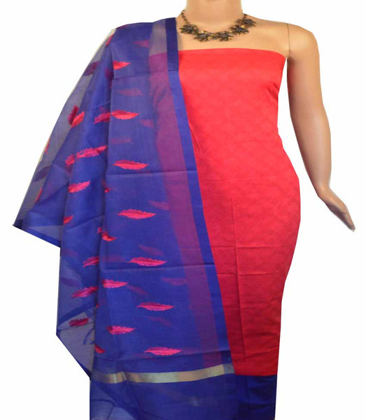 Churidar Material:- Top in  Cotton  , Duppata Semi Organza With Checks Weaving and  Bottom in   Cotton Silk  (Un-stitched) - 180100430
