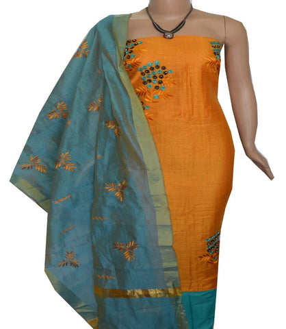 Churidar Material:- Top in   Chanderi  , Duppata in Chanderi  Silk and  Bottom in   Cotton  (Un-stitched) -190100078