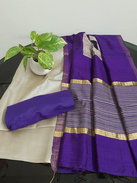 Churidar Material:-Top In Tussar Silk  Duppata in Raw Silk and  Bottom in   Cotton Silk (Un-stitched) -190100346