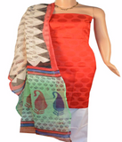 Churidar Material:- Top in  Brocade  , Duppata in  Net cotta  and  Bottom in  Cotton Silk (Un-stitched)