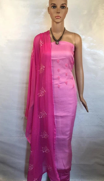Churidar Material:- Top in Jute Linen , Duppata in  chiffonand   Bottom cotton silk   (Un-stitched) -190100237
