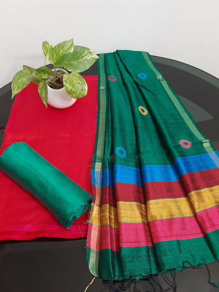 Churidar Material:-Top In Raw Silk  Duppata in Raw Silk and  Bottom in   Cotton Silk (Un-stitched) -190100339