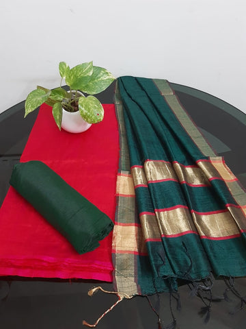 Churidar Material:-Top In Tussar Silk  Duppata in Raw Silk and  Bottom in   Cotton Silk (Un-stitched) -190100344