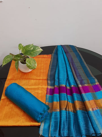 Churidar Material:-Top In Raw Silk  Duppata in Raw Silk and  Bottom in   Cotton Silk (Un-stitched) -190100341