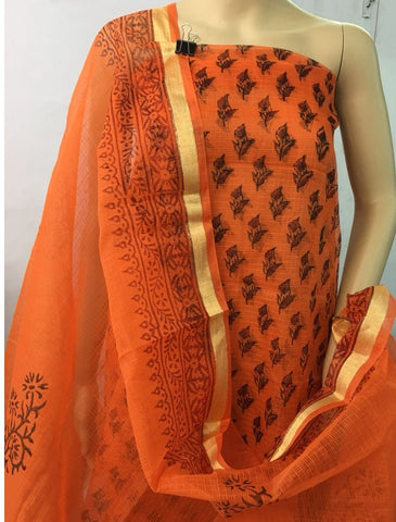 Churidar Material:- Top in   cotta  , Duppata in cotta and  Bottom in   Cotton  (Un-stitched) -190100217