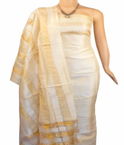 Churidar Material:- Top in   Tussar Silk , Duppata in   Tussar  Silk  and  Bottom in  Cotton Silk (Un-stitched) - 180100196