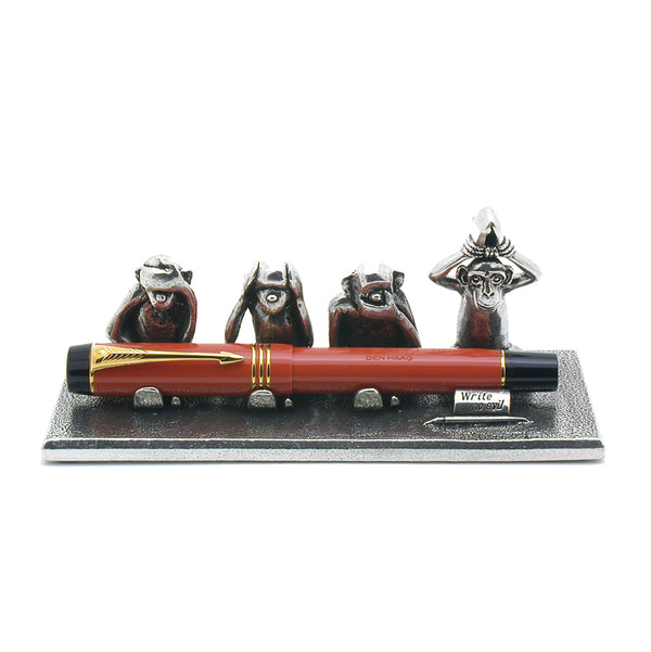 Jac Zagoory Designs pen stand hear, see and speak no evil