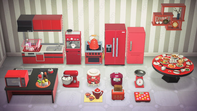 Animal Crossing New Horizons ACNH Red Kitchen Furniture Set