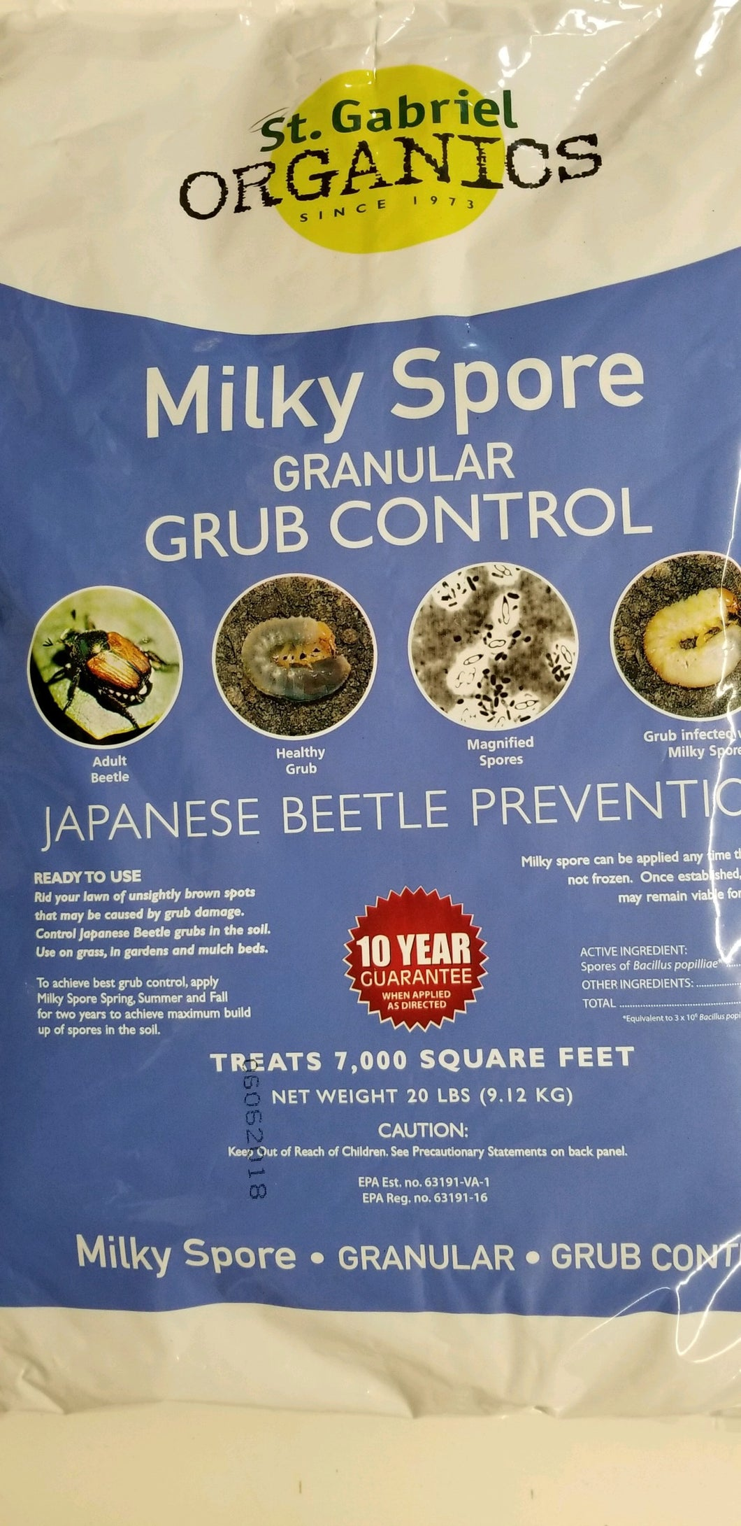 Milky Spore Granular Grub Control-10 Year Guarantee When Applied As Directed!