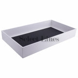 "White Faux Leather Standard Display Tray  2"" H"