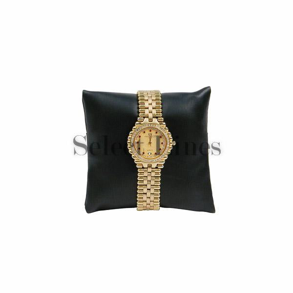 "Black Faux Leather Pillow Bracelet/Watch Display 3"" H."