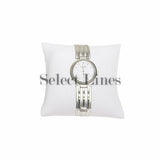 "White Faux Leather Pillow Bracelet/Watch Display 3"" H."
